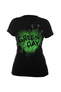 This fitted black tee features a spray paint stencil style Green Day logo green heart with nails driven into it. Ouch!
