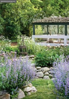 """Stacked-stone raised planters—lush with catmint, """"Oxeye"""""""