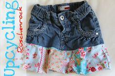 Upcycling – DIY - zu kurze Kinderhosen in Röcke umnähen