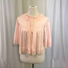Vintage 1950s Accordion Pleated Pink Bed Jacket by Evette Rare