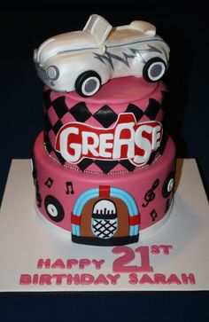 Grease Themed Birthday Cake cakepins.com