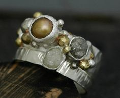 Rough Diamond and Copper Pearl Engagement Band and by Specimental, $435.00