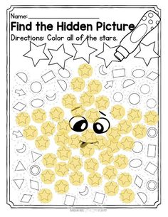 Here is a free no-prep hidden picture math printable for preschoolers of finding the hidden shape using daubers. The preschooler or kinder will mark all of the stars and find a hidden star once complete. Space Preschool, Preschool Colors, Preschool Bible, Free Preschool, Preschool Crafts, Shape Worksheets For Preschool, Shapes Worksheets, Preschool Shapes, Owl Classroom