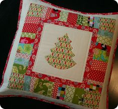 Christmas Tree Quilted Pillow