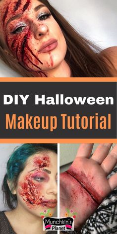 Learn how to make fake wounds makeup for Halloween. In this simple and easy step by step tutorial video learn everything about making a fake scar, deep cut and creepy Halloween makeup. #halloweenmakeup #spookymakeup #diymakeup #creepymakeup Unique Couple Halloween Costumes, Diy Halloween Costumes For Kids, Women Halloween, Halloween 2020, Halloween Ideas, Halloween Party, Fake Wounds, Maquillage Halloween, Fake Scar
