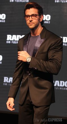 Hrithik Roshan looking dashing in a dark suit at an event for RADO watch. #Bollywood #Fashion #Style #Handsome