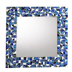 Blue Mosaic Mirror Stained Glass Mirror, Stained Glass Birds, Mirror Mosaic, Stained Glass Panels, Glass Mosaic Tiles, Mosaic Wall, Fused Glass, Mosaic Crafts, Mosaic Projects