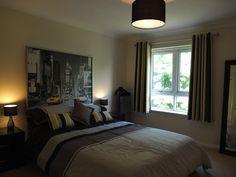 Black White Grey & Yellow Bedroom - add Vegas skyline print? - Guest Bedroom