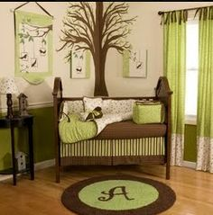 Unique color scheme and set up for a baby nursery.