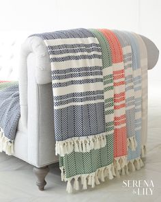 Hand-tied fringe gives a fun look to these vibrant cotton throws. Bohemian Design, Bohemian Decor, Purple Bohemian Bedroom, Country Decor, Rustic Decor, Coastal Living Rooms, Patterned Sheets, Nautical Home, Cotton Throws