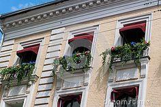Фасад дома с красивыми цветками в Windows