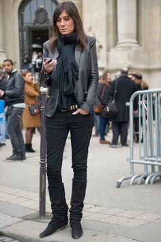 Emanuelle Alt leather blazer