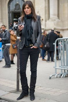 Emanuelle Alt leather blazer