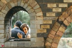 Wedding photography with brick wall