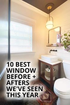 Looking for home makeover inspiration? These Before + Afters will motivate you to start your own renovation! Woven Wood Shades, Bamboo Shades, Bathroom Window Treatments, Bathroom Windows, Dark Wood Cabinets, New England Homes, Best Windows, Wood Blinds, Rv Living