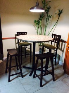 High Round Bar Table, Granite Top, Two Wooden Stools And High Stools With  Back
