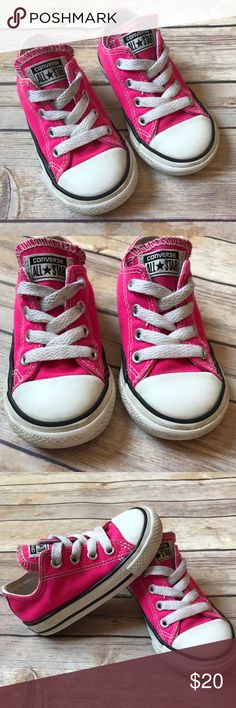 Hot Pink Converse Size 6 toddler Pink Glo Converse. Clean foot beds. Logos in VGUC. Toes are a little worn and laces and tongue are a little smudgy black in a few spots. Fresh washed and ready for a new kid! Good used condition. Converse Shoes Sneakers