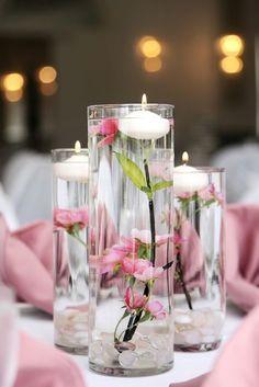 #FloatingCandles #CylinderVase #Wedding #Centerpiece pretty in #pink Floating Candle Centerpieces, Votive Candles, Wedding Centerpieces, Wedding Decorations, Centrepieces, Diy Wedding, Wedding Flowers, Wedding Day, Table Wedding