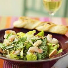 Main dish salads under 300 calories-Shrimp Caesar Salad Seafood Recipes, Cooking Recipes, Healthy Recipes, Healthy Salads, Cooking Tips, Easy Recipes, Healthy Food, Main Dish Salads, Main Dishes