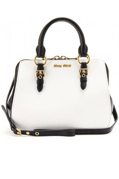 Bright bags to buy now! Black & white Miu Miu shopper