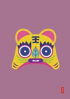 Antique Tiger jouet Illustration Art Print affiche par Colorlabo