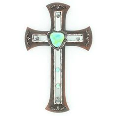 Wall Cross with Turquoise Stone