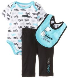 c27227e81 Calvin Klein Baby-Boys Newborn Printed Creeper with Black Pull On Pants and  Bib