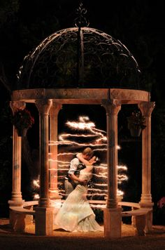 fairy tale wedding portrait in Austin, Texas. Creative lighting, light painting.