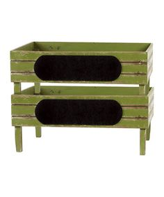 NOT A DIY LINK! But could be an easy one to try!  Green Distressed Wooden Large Stacking Storage Bin