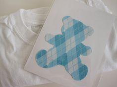 Blue Argyle Teddy Bear Appliqué by Whitehall Shop