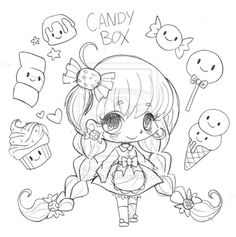 Candy Box Chibi Commission - Sketch by YamPuff on DeviantArt Candy Coloring Pages, Candy Cane Coloring Page, Chibi Coloring Pages, Printable Adult Coloring Pages, Coloring Pages For Girls, Cute Coloring Pages, Coloring Books, Candy Drawing, Character Design Girl