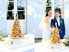 Bordeaux Rustic Chic Chateau Lagorce Real Wedding, bride wore strapless dress from Brides boutique with Badgley Mischka heels. Captured by Dasha Caffrey French Wedding Cakes, Wedding Cake Images, Beautiful Wedding Cakes, Croquembouche, Profiteroles, Great Desserts, Rustic Chic, How To Make Cake, Real Weddings