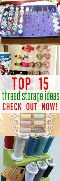 SUPERB and Affordable Sewing Thread Storage Ideas - thread spool storage Thread Storage, Sewing Room Organization, Craft Room Storage, Organization Ideas, Storage Ideas, Fabric Storage, Sewing Spaces, My Sewing Room, Sewing Rooms