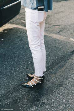 white jeans + those shoes...