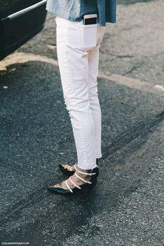 New_York_Fashion_Week-Spring_Summer-2016-Street-Style-Ralph_Lauren-Jessica_minkoff-Off_The_Shoulders-Denim-White_jeans-