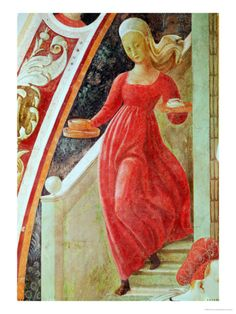 The Birth of the Virgin, Detail of a Maid Servant Descending a Staircase  by Paolo Uccello