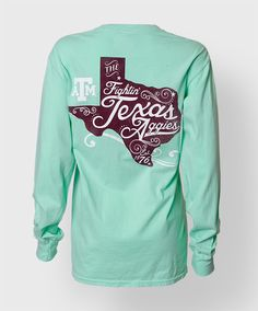 This curly cue women's shirt is a great way to show off school pride! This Comfort Colors shirt was designed by AO artists, and is a closet staple for your Aggie wardrobe!