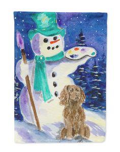 Artist Snowman with Boykin Spaniel Flag Garden Size
