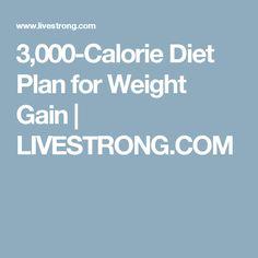 3,000-Calorie Diet Plan for Weight Gain | LIVESTRONG.COM
