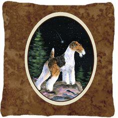 Starry Night Fox Terrier Indoor/Outdoor Throw Pillow