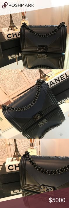 "Chanel Boy Bag Runway collection...limited edition so black from Spring 2017 collection. Navy and black lamb skin leather with ""so black"" hardware. Old medium size. New edition to my Chanel family ❤️❤️❤️ CHANEL Bags Shoulder Bags"
