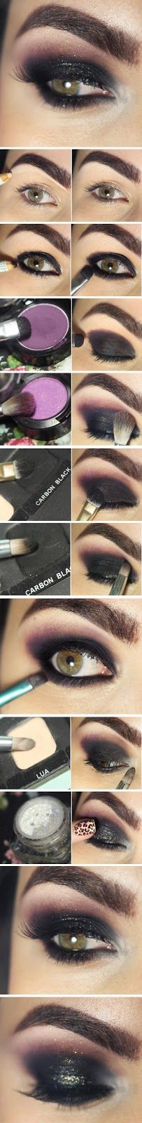 Smokey Black Eye with Gltter and Purple Makeup Tutorials Step by Step / Best LoLus Makeup Fashion