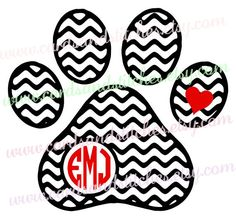 Chevron Dog Paw Print with Monograms - Monogram Dog Paw Print Decal or Iron-on Transfer - Decals for Cars - Computers - Iron-on for Shirts by cardsandstitches on Etsy Yeti Decals, Car Decals, Vinyl Decals, Monogram Decal, Monogram Frame, Chevron, Silhouette Cameo Projects, Cartoon Dog, Dog Paws