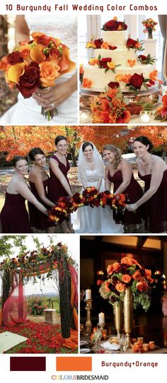 Fall wedding colors burgundy and orange wedding themes Fall Wedding Centerpieces, Fall Wedding Bouquets, Fall Wedding Flowers, Fall Wedding Colors, Fall Wedding Themes, November Wedding Colors, Wedding Color Schemes Fall Rustic, Autum Wedding, Dream Wedding