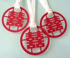 50 Double Happiness Favor Tags by PrettyStationeryShop on Etsy