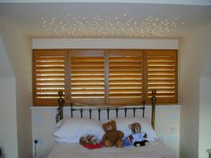 Wooden shutters. Bedroom Shutters, Wooden Shutters, Bedroom Windows, Window Shutters, Bunk Beds, Cosy, Blinds, Curtains, Furniture