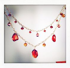 double chain necklace w/ czech glass    by BrioletteVines, $65.00
