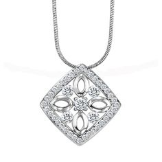 Naledi Jada Pendant - Diamonds and 14kt white gold are set side by side to create this beautiful shield-inspired design by Naledi.