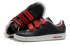 best service 8bf53 bff2a Adidas Stan Smith GS - Chaussure Adidar Pas Cher Pour Femme Enfant  Noir Rouge