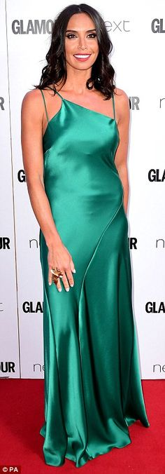 Striking:The Irish presenter, 38, claimed her fair share of the spotlight in an emerald green evening dress following her arrival at the Berkley Square Gardens event on Tuesday night